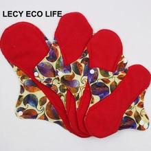 Riutilizzabili pastiglie di stoffa per i giorni speciali, rosso micro pile interno mestruale pad con le ali, donne di formato 4 sanitari pastiglie di giorno e di notte