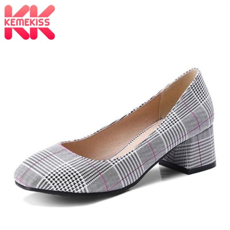 KemeKiss Women Pumps Fashion Plaid High Heel Shoes Women Vintage Gingham Square Heels Office Party Dress Shoes Plus Size 33-47