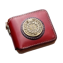 Pure handmade womens wallet purses short personality three-dimensional relief Big bronze medal nine palace leather men wallets