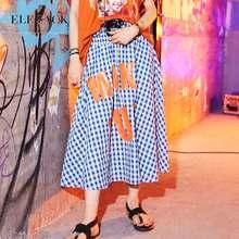 ELFSACK Herbst Neue Frau Rock Europäischen Casual Hohe Taille Ins Stil Röcke Brief Drucken Vintage Weibliche Röcke Sukol Streetwear