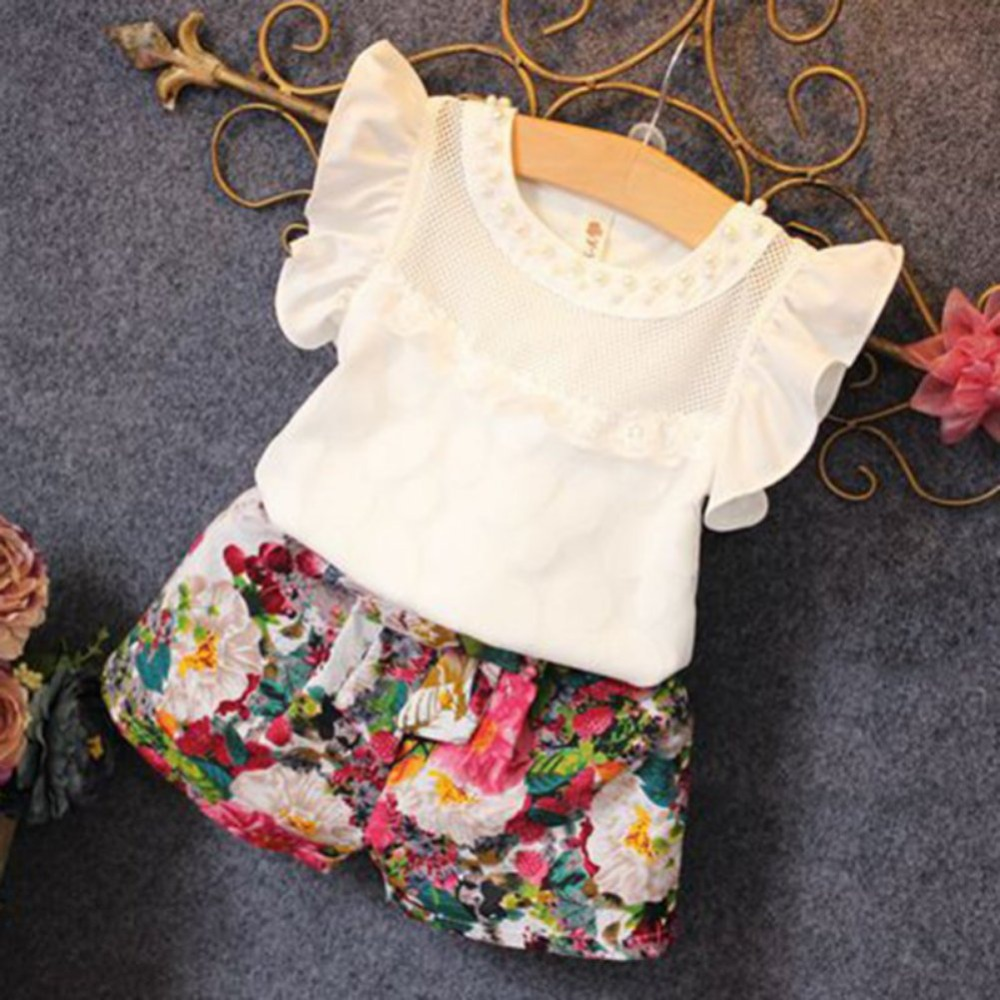 Low Price Girls Summer Clothes Set Children Sleeveless Solid T-shirt + Short Print Pants 2016 Girl Clothing Sets For Kids CF104