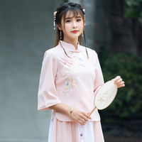 2019 summer women long sleeve shirt chinese traditional lady mandarin collar butterfly blouse top elegant clothing