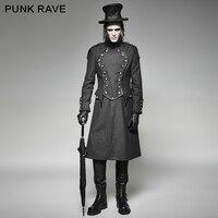 Панк Rave 2017 Новый дизайн военная форма длинное пальто Черный Прохладный Куртки мужчин плащ y 704