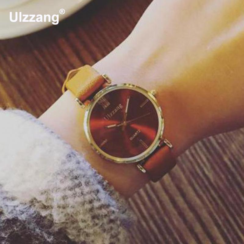 2018 Fashion Ulzzang Brand Shockproof Thin Strap Leather Women Ladies Girls Wrist Watch Bracelet Black White Brown survival nylon bracelet brown