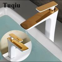 Basin Faucet White and Gold Basin Mixer Brass Crane Bathroom Faucets Hot Cold Water Mixer Tap Contemporary Mixer Tap torneira