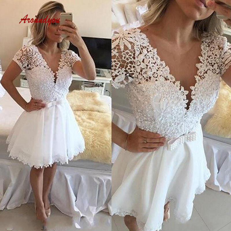 Sexy White Short   Cocktail     Dresses   Beaded Pearls Plus Size coktail Mini Semi Formal Graduation Prom Party Homecoming   Dresses