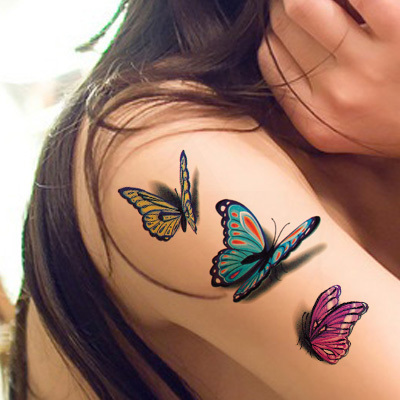 Waterproof Temporary Tattoo Sticker 3D Butterfly Tattoo Color Flash Trendy Tattoo Small Neck Hand Arm Shoulder Fake Tattoo QS057