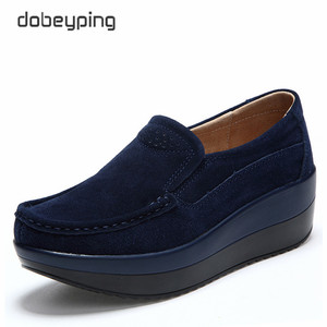 Image 2 - 2018 New Spring Autumn Shoes Woman Platform Women Shoes Cow Suede Leather Flats Thick Sole Womens Loafers Moccasins Female Shoe