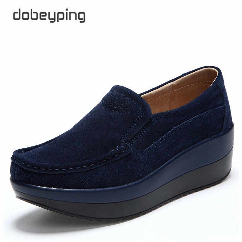 2018 yeni bahar sonbahar ayakkabı kadın platformu kadın ayakkabı inek süet deri daireler kalın taban kadın loafer'lar Moccasins kadın ayakkabı