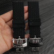 23mm BLACK Silicone Rubber Watch band Diving Sport Waterproof Soft Strap Bracelet For Brand