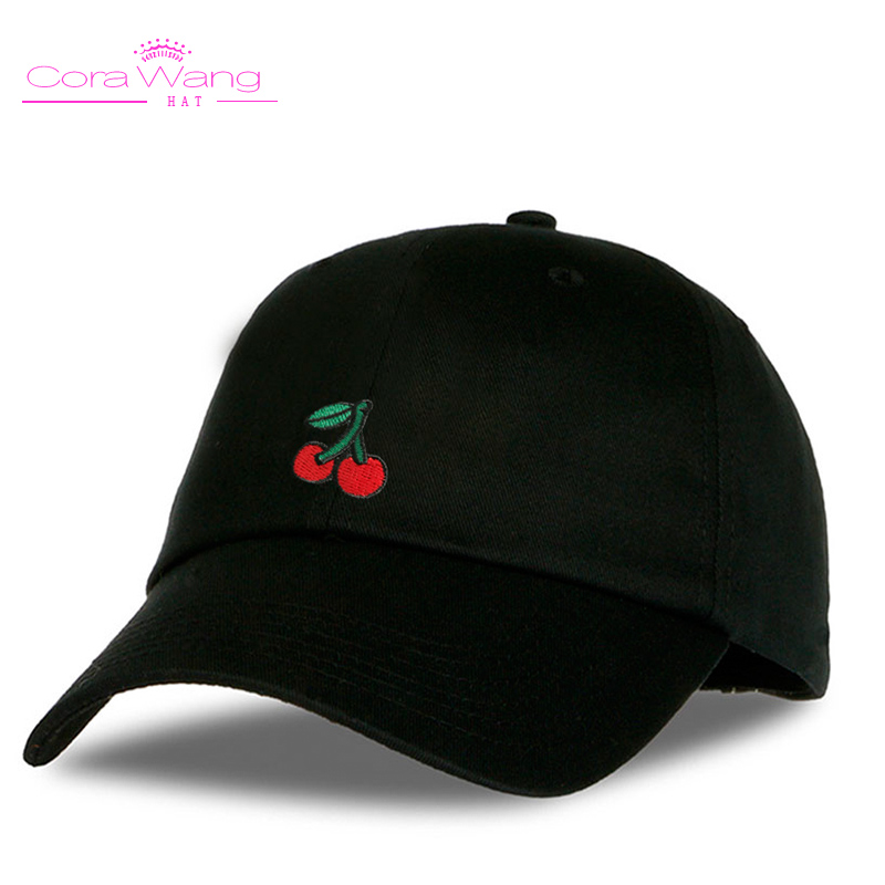 Cora Wang Dad Hats for women's Baseball Cap Soft cotton men Snapback Caps Unisex Cherry  Embroidered fruits sun hat women пуховик свободный cherry dad