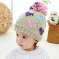 Baby & kids girls heart print knitted lining fleece winter beanie hats children new fashion winter casual cute caps