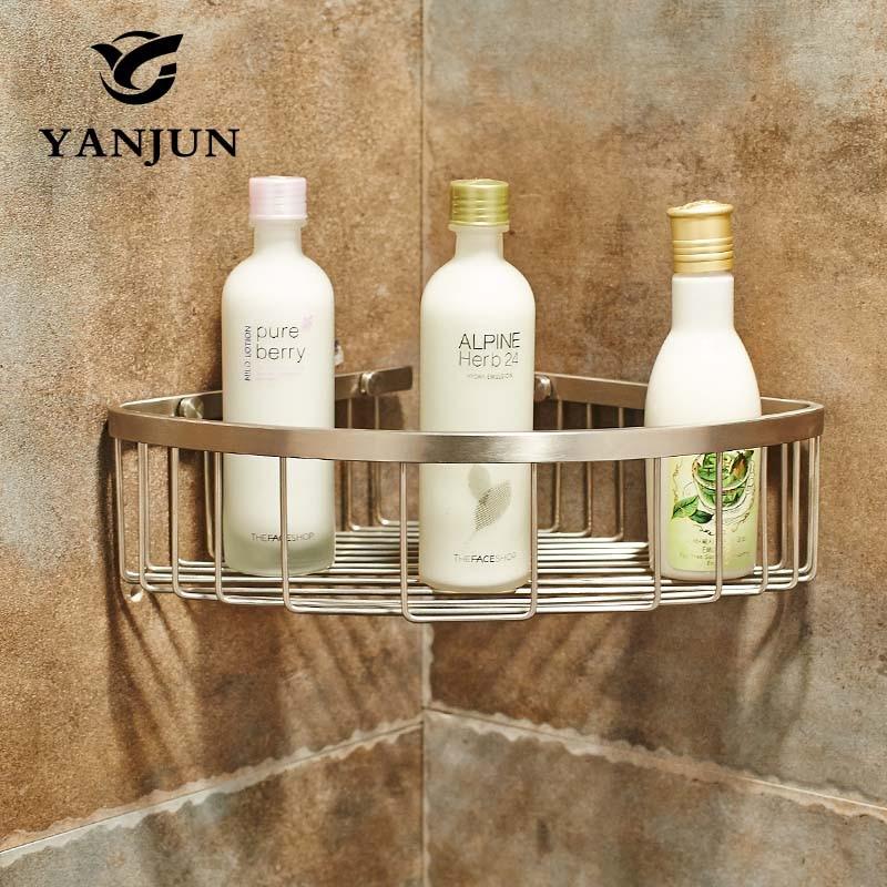 купить Yanjun 304 Stainless Steel Brushed Corner Shelf Shower Caddy Tidy Holder Unit Bathroom Rack Bathroom Accessories  YJ-7521 недорого