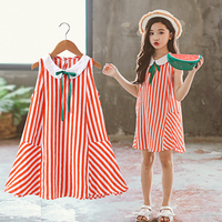 Girls Dress Summer 2019 Sleeveless Striped Kids Dresses Cotton Fashion Children Clothes Teenagers Age 9 10 11 12 13 14 Years Old