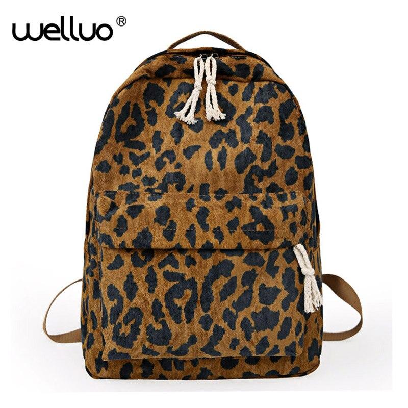 Travel Backpack Shoulder-Bag Leopard-Print Large-Capacity Dual-Straps Girl Corduroy School