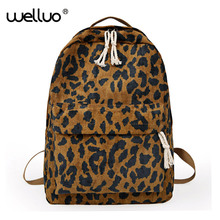 020fef94ed Fashion Female Backpack Leopard Print Corduroy Dual-Straps Woman Travel  Backpack Large Capacity Girl School