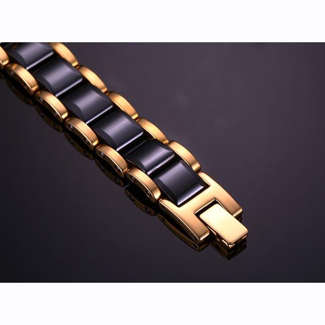 Hematite Health Energy Black Gold Color Ceramic Bracelet
