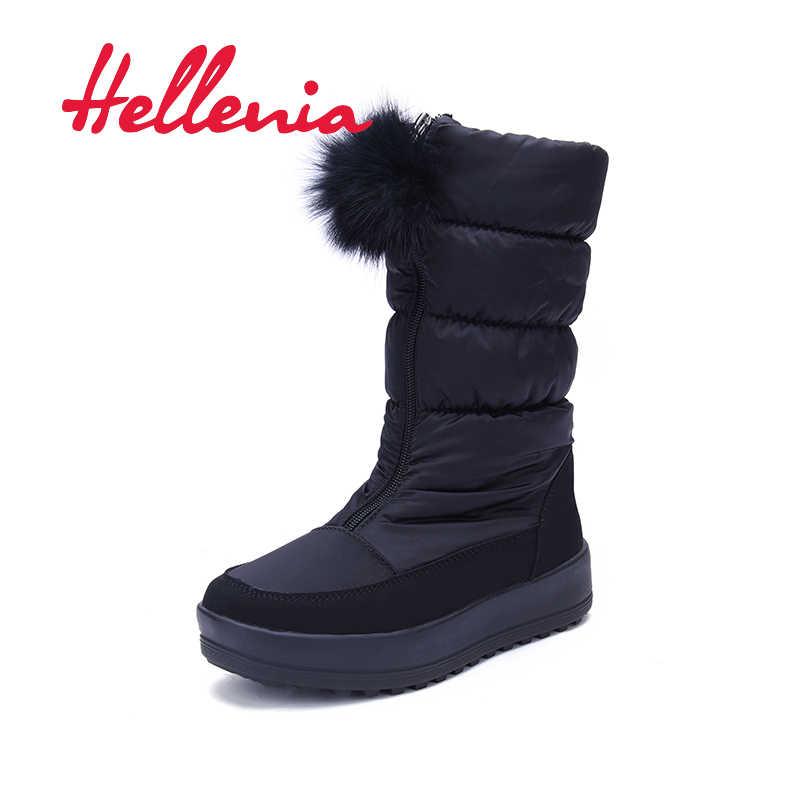 Hellenia Snow Boots 2018 ยี่ห้อผู้หญิงฤดูหนาวรองเท้ากันน้ำข้อเท้าขนสัตว์ฤดูหนาวรอบ Toe Ladies รองเท้ารองเท้าลำลองรองเท้า