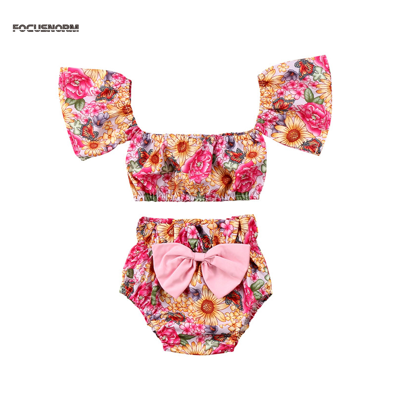 Newborn Baby Girl Clothes Floral Tank Top +bow-knot Shorts 2PCS Outfits Summer Toddler Kids Clothing Set 3pcs set newborn infant baby boy girl clothes 2017 summer short sleeve leopard floral romper bodysuit headband shoes outfits