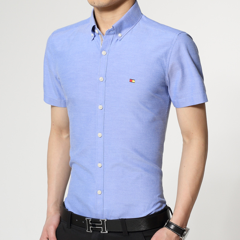 New 2016 summer short sleeve men shirt brand slim fit mens for Mens dress shirt sleeve length