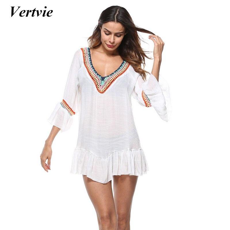 Women's Clothing Adaptable Summer New Womens Swim Wear Bikini Cover Up Sheer Beach Lace Up Shirts Mini Wrap Sarong Pareo Long Blouses Fashion