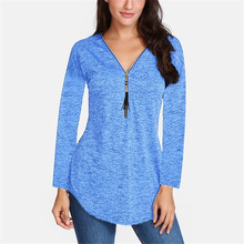 Spring New Women Long Sleeve V-neck Tass