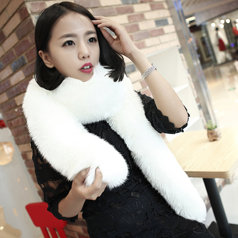 super long winter scarf for women faux fox fur scarfs manmade cozy faux fur mink scarf wrap warm neck warmer coat collar