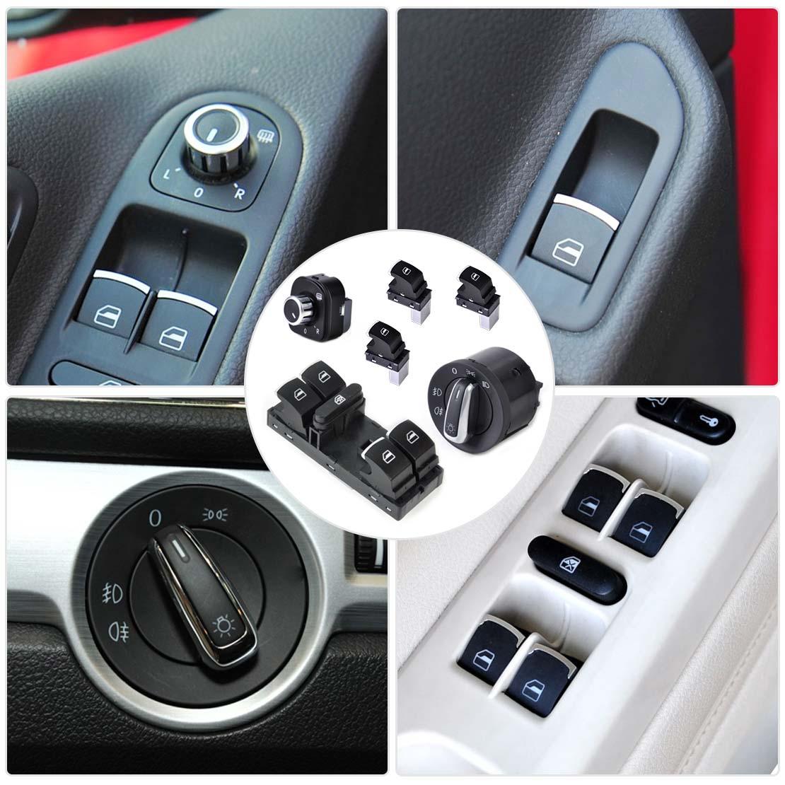 beler Headlight Mirror Window Switch Control Set for VW Golf Jetta GTI MK5 MK6 Passat B6 3C Rabbit Tiguan 5ND941431A 5ND959565B headlight mirror window switch passat b6 3c - title=