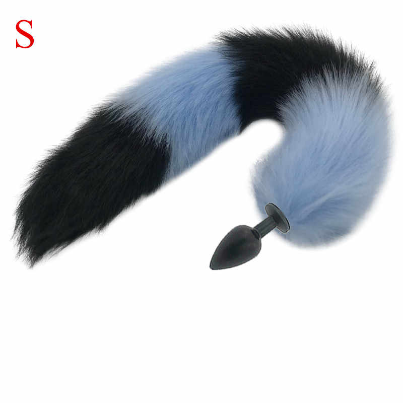 S/M/L Anal Sex Toy Blue และ Black Wolf ผมปลอมก้นโลหะสัตว์ยาว Fox tail คอสเพลย์ Fox Tail ผลิตภัณฑ์ Shop H8-184D