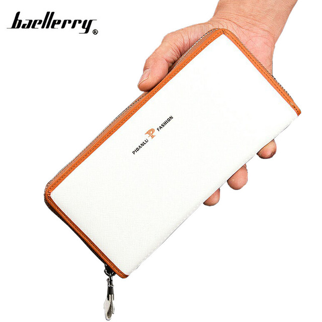 Casual Long Design PU Leather White Wallet Men Zipper Design Card Holder Handbags Purse Male Large Capacity Clutch Bag Wallets