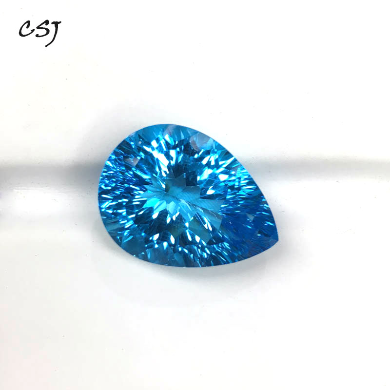 CSJ Natural Blue Topaz Loose Gemstone Deep Color Big Stone Pear13*18MM 16ct Brilliant Cutting For Diy Jewelry 925 Silver GoldCSJ Natural Blue Topaz Loose Gemstone Deep Color Big Stone Pear13*18MM 16ct Brilliant Cutting For Diy Jewelry 925 Silver Gold