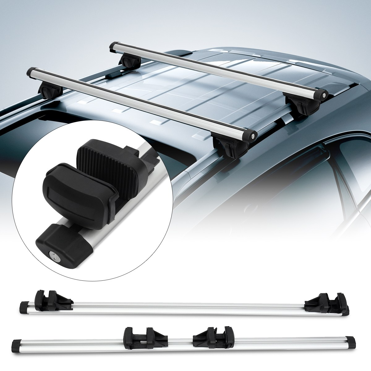 Car Silver Roof Rack Cross Bar with Anti theft Lock Auto Roof Rails Rack Bars Outdoor Rooftop Luggage Carrier Racks 130cm