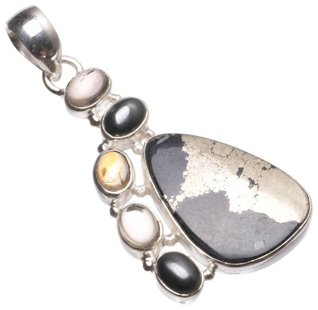 Natural Apache Gold Stone,Hematite,Smoky Quartz Citrine Mexican 925 Sterling Silver Pendant 2 1/4 U0076 apache 1 1
