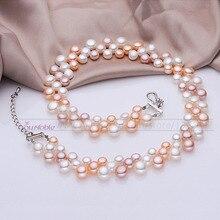 3 fila de agua dulce naturales de múltiples capas gargantilla mujeres collares de perlas, collar de perlas real cuello de dama de honor de la boda regalo de cumpleaños mamá