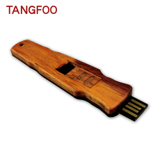 Original Retro Guqin-shaped wooden zither model usb flash drive memory Stick pendrive 4G 8G engraving USB pen drive high quality