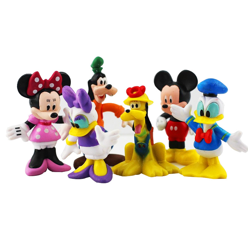 6pcs/lot Mickey Figures Toy Doll Minnie Figure Mouse Donald Duck Cartoon Children's Toy Goofy Dog Pluto Dog Daisy Free Shipping