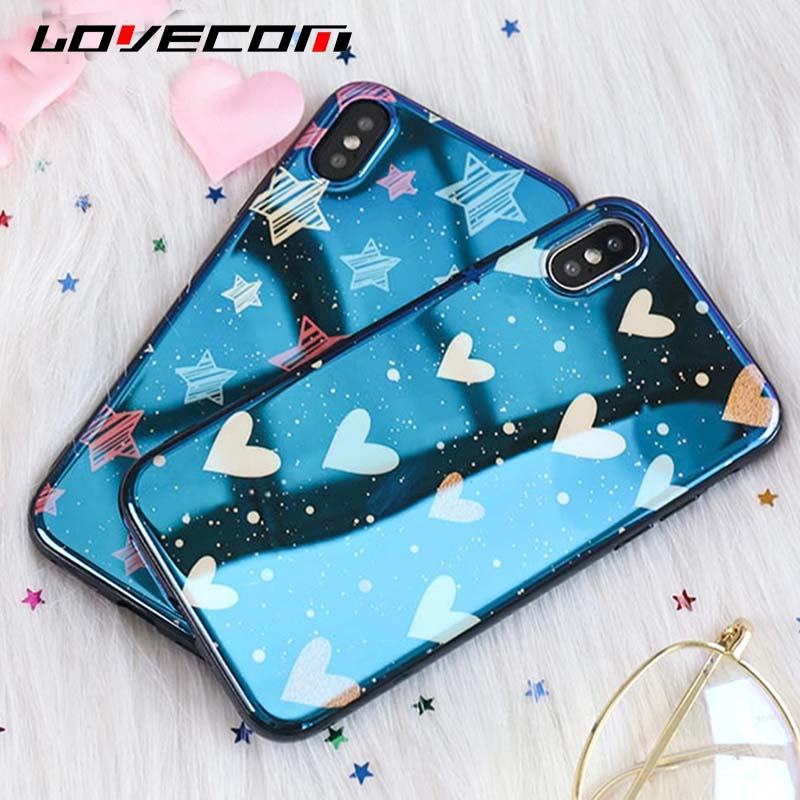 LOVECOM Glossy Hearts & Stars Blue Ray Phone Case For iphone X 8 7 6 6s Plus Soft IMD Protective Phone Cover Cases Shells Coque