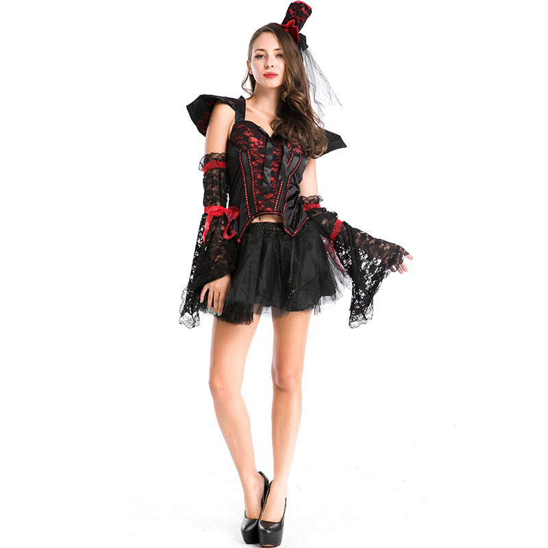 Gothic Lace Womens Adult Vampire Witch Black Costume Skirt-Std