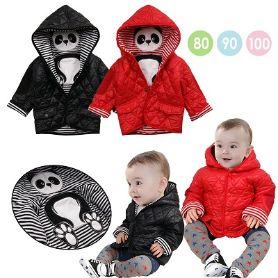 Coat Black-Color Down-Jacket Baby-Boys Kid Winter Warm Red Thick Cotton Panda-Model
