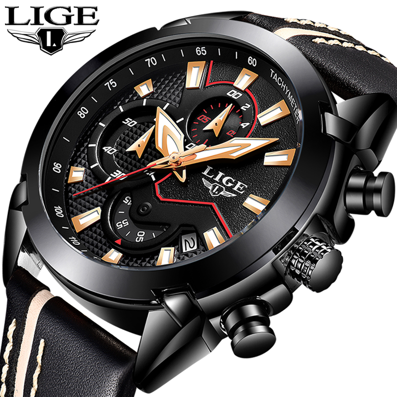 2018 New LIGE Top Luxury brand Watch Men Sport Waterproof Leather Quartz Watches Men's Casual Business Clock Relogio Masculino classic simple star women watch men top famous luxury brand quartz watch leather student watches for loves relogio feminino