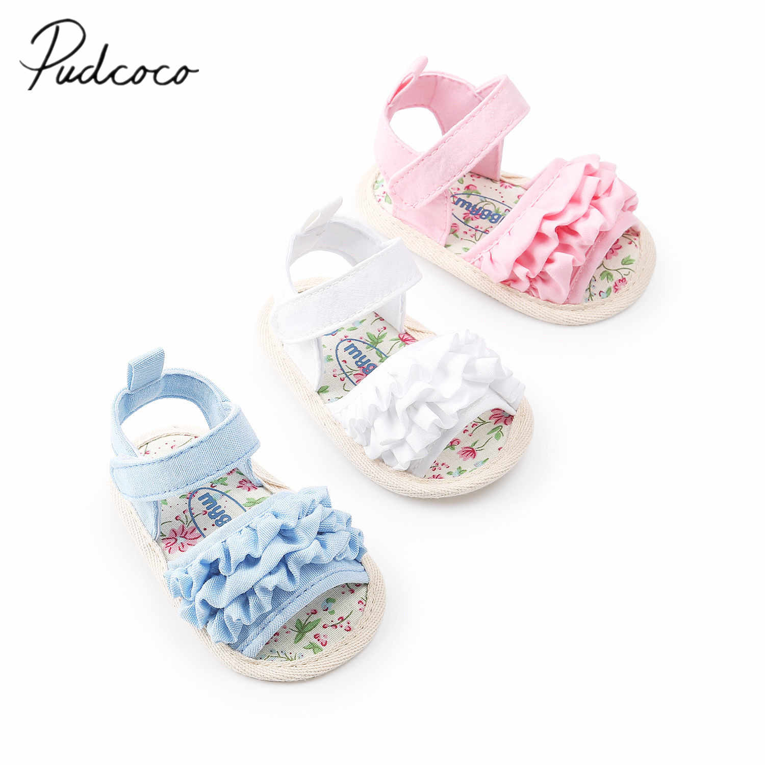 2018 Brand New Toddler Infant Newborn Baby Girl Flower Sandals Summer Casual Crib Shoes Ruffled Floral First Walker 0-18M