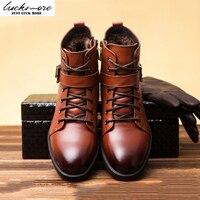 Top Quality Geunine Leather Men Snow Boots Winter Warm Comfortable Plush Belt Black Brown Man Shoes