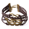 Vintage Infinity Multilayer Braided Bracelet Mask With The Sword Charm Leather Bangle Bracelet for Women Men