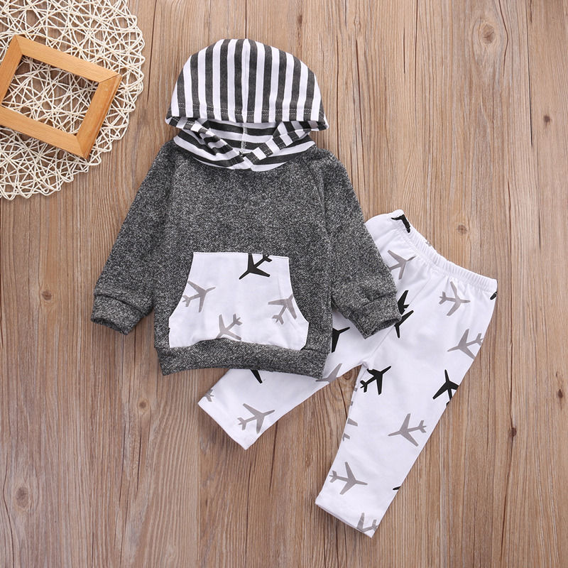 2Pcs Toddler Kids Baby Boy Girl Airplanes Hooded Tops +Pants Outfits Set Clothes 2pcs set baby clothes set boy