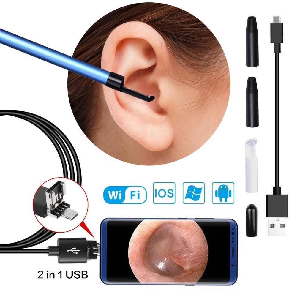 2 dans 1 USB Oreille Nettoyage Endoscope Earpick Avec Mini Caméra HD Cérumen Retrait Outil Kits prend en charge tous les systèmes smartphone vente