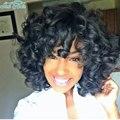 Естественный Фигурные Парики Для Чернокожих Женщин Черный Короткие Синтетические Парики для Афро-Американских Женщин Черные Вьющиеся Афро Парик Эльфа Вырезать парик