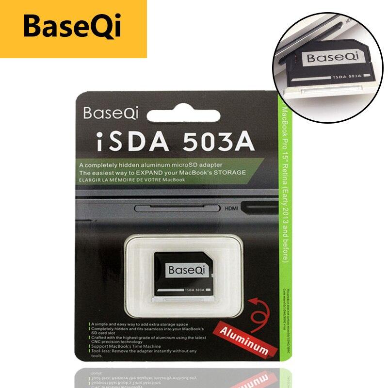 Оригинальный BaseQi Алюминий MiniDrive Micro SD карты адаптера Reader Для Macbook Pro Retina15'' bilgisayar адаптеров для карт памяти