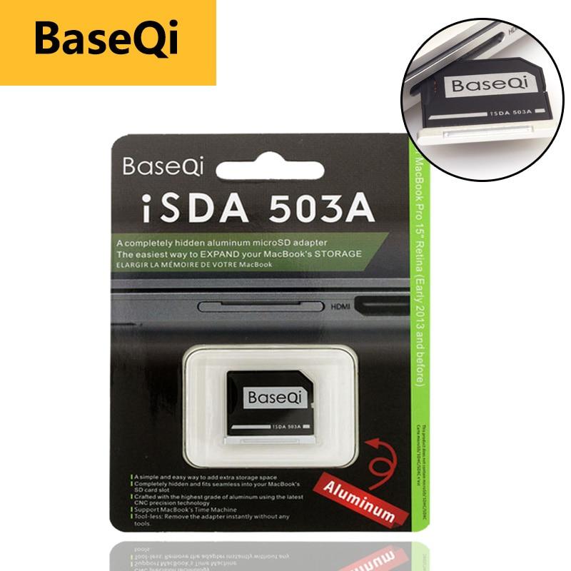 Original BaseQi de aluminio MiniDrive adaptador de tarjeta Micro SD, lector de tarjeta para Macbook Pro Retina15'' bilgisayar tarjeta de memoria adaptadores