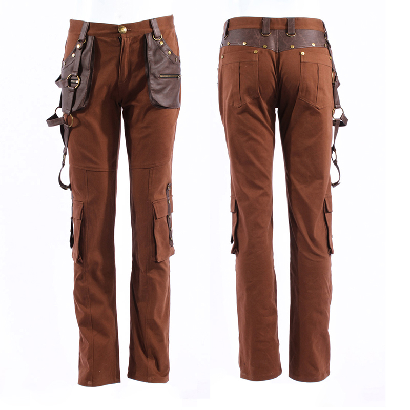 Steampunk Coffee Color Men Trousers Fashion Street Rock Punk Leather Pants Autumn Winter Straight Pants With Pockets