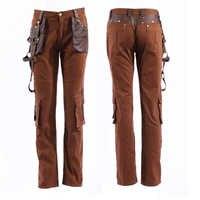 Steampunk kolor kawy męskie spodnie moda ulica Rock Punk spodnie skórzane jesień zima proste spodnie z kieszeniami